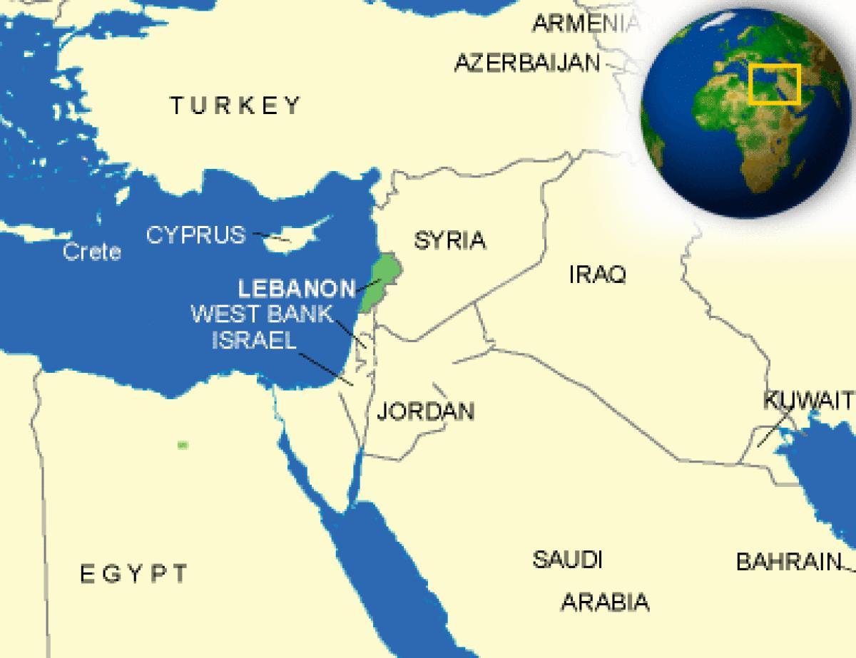 Harta Liban Liban De Pe Hartă Asia De Vest Asia