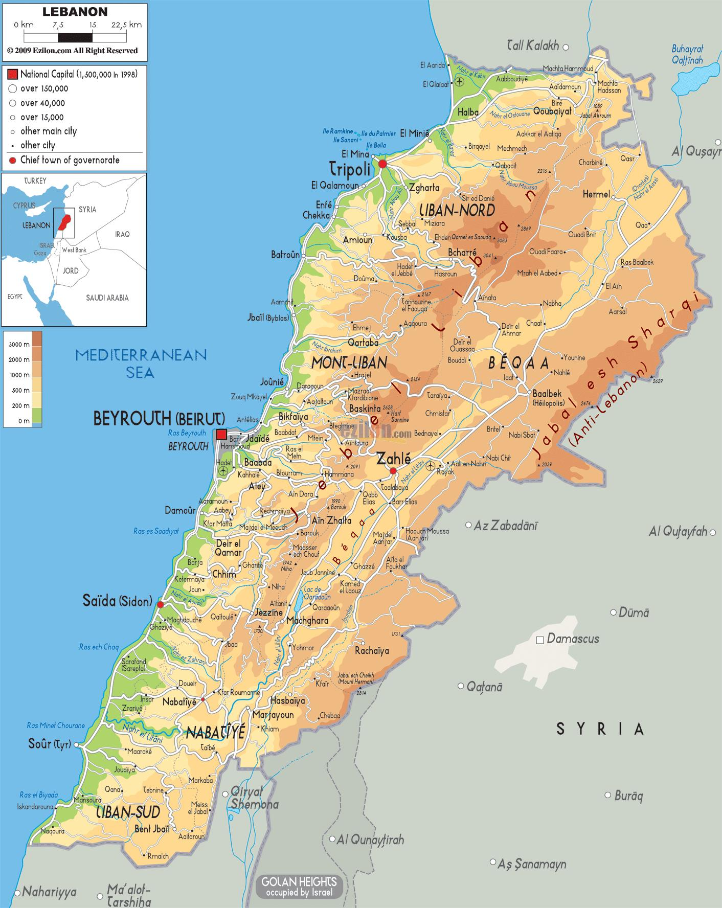 Liban Fizice Hartă Harta Liban Fizice Asia De Vest Asia