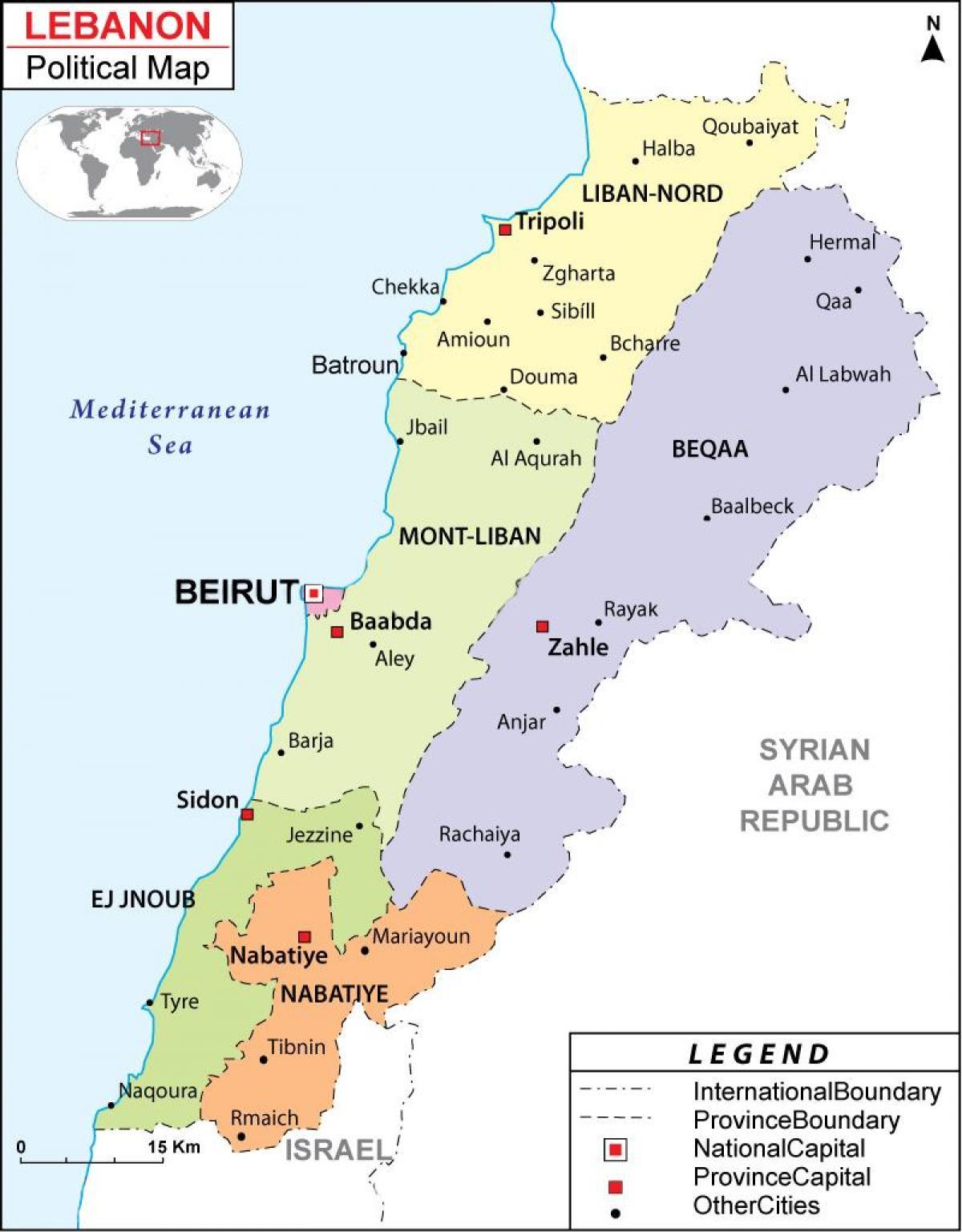 Liban Politice Hartă Harta Politice Din Liban Asia De Vest Asia